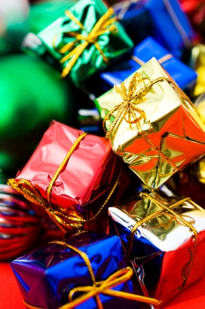 Christmas presents with colorful packages and decorations.   photo