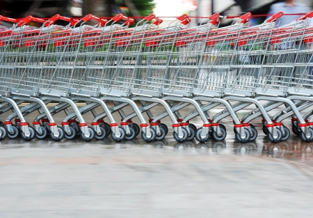 superstore: Row of shopping trolley for a supermarket.  Stock Photo