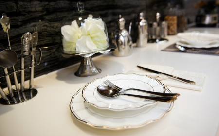 Formal dinner service as at a wedding, banquet. photo