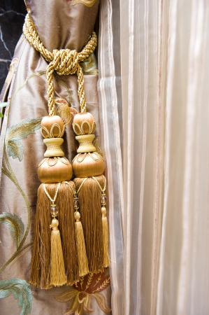 Curtains with ornaments in the modern house. photo