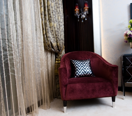 elegance chair and curtain with tassels  photo