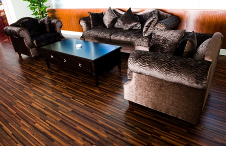 Bright modern interior Design with hard wood flooring.  Stock Photo