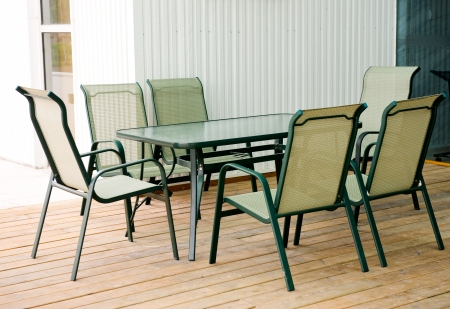 Outdoor, modern patio furniture-table and chairs.  photo