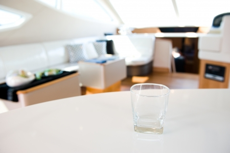 empty glass in a yacht photo