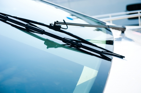 windscreen: The close up of yacht windshield wiper