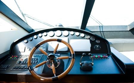 steering wheel on a luxury yacht. photo