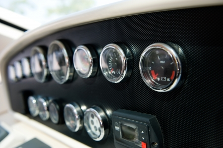 motor boats: Dashboard instruments of a yacht.