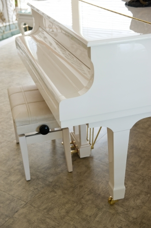 white grand piano and bench in a room  photo