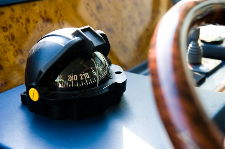 Compass and rudder on a yacht. photo