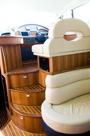 motor boats: Interior steering wheel area in a luxury yacht