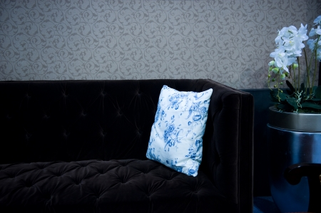 detail of couch and pillow . photo
