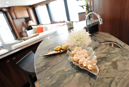 pearls in a tray in ultra modern kitchen.  photo