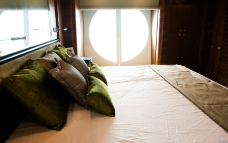 Magnificent bedroom on a luxury yacht. photo