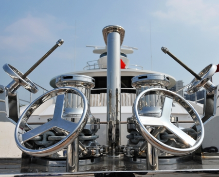 wheels on the deck of a luxury yacht. Stock Photo - 13924153