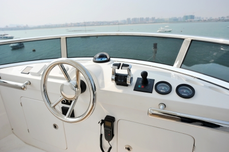 manage transportation: View of yacht cockpit on the deck.