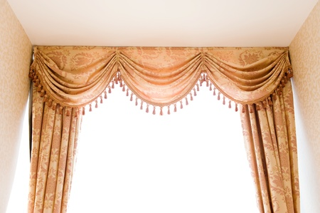 brown velvet theater curtains in a room over white background. Stock Photo - 13973832