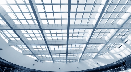 modern glass roof inside office center  photo