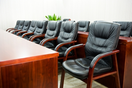 Head office boardroom with leather chairs. photo