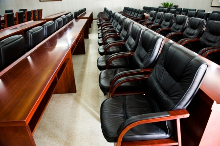 office chairs: Head office boardroom with leather chairs. Stock Photo