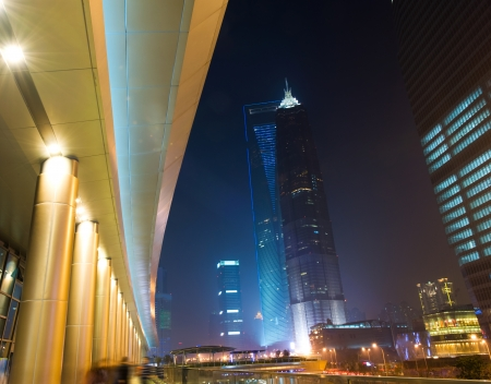 pudong district: the night view of the lujiazui financial centre in shanghai china.