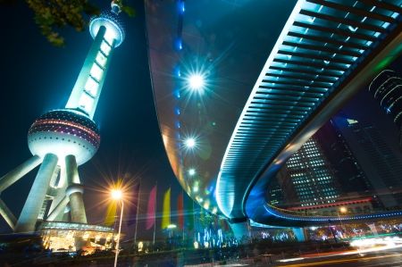 low light: The light trails on the landmark building Oriental Pearl Tower