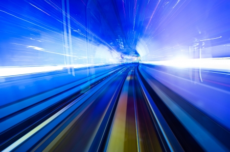 speedy: Abstract train moving in tunnel. Stock Photo