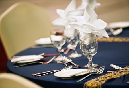 A fine dinner table in restaurant. photo
