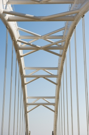 Abstract view of bridge support against a blue sky. photo