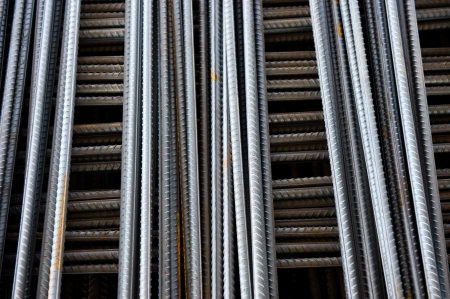 ferro: Steel rods or bars used to reinforce concrete. Stock Photo
