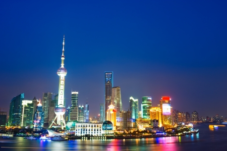 pudong: Beautiful night scene in Shanghai pudong, China.