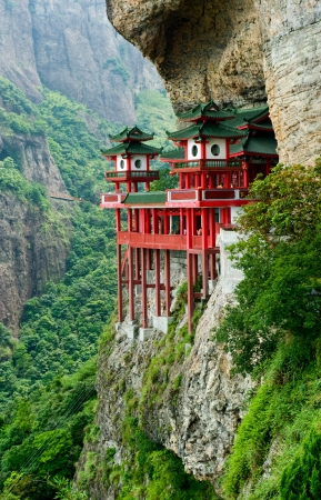 tuinhuis: De tempel bevindt zich in de berghelling, Fujian provinceChina.
