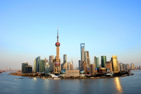 across: Panorama of Shanghai looking across the bund