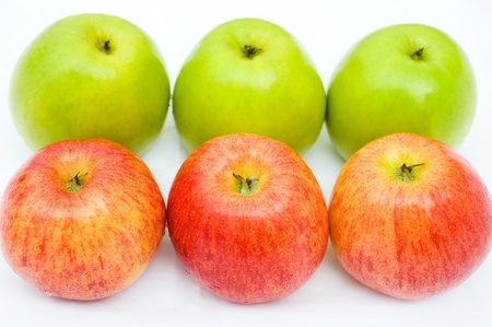 incompatible: Apples in red and green close up Stock Photo