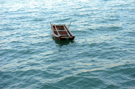 constraints: Boat floating in the sea