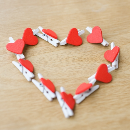 Valentines decoration of many red hearts. photo