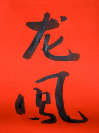 words mean dragon and phoenix. Chinese new year calligraphy for the year of dragon  photo