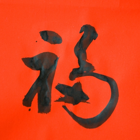 This Chinese character 'Fu'means Blessing, Good Fortune, Good Luck.Fu is one of the most popular Chinese characters used in Chinese New Year.   Stock Photo - 14048398
