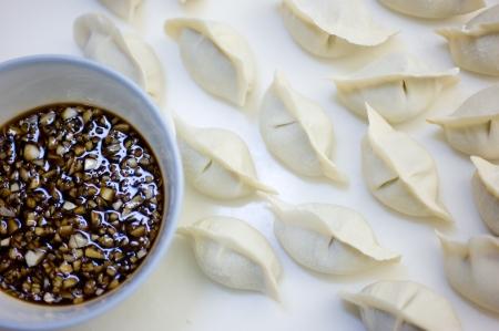traditionally russian: Fresh hand made Chinese dumplings.  Stock Photo