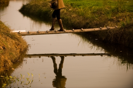 across: woman crossing brook by a simple wooden bridge.