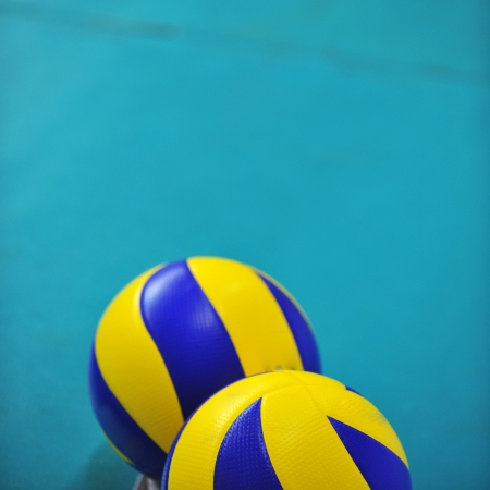 two volleyball on the ground. photo