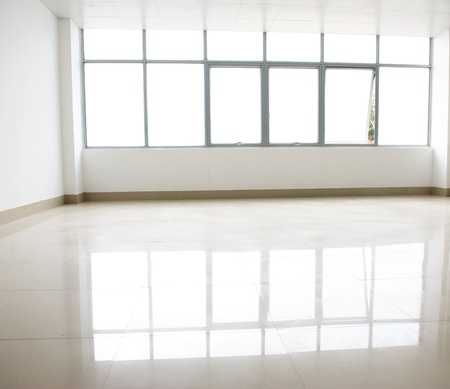empty internal view with glass wall.