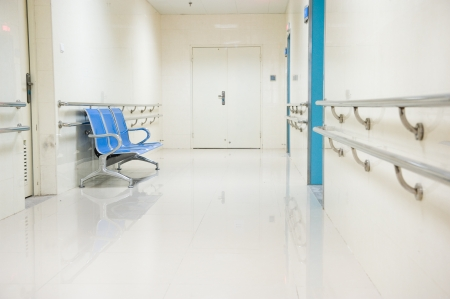 a row of chairs in the hospital hallway.  Stock Photo - 14142327
