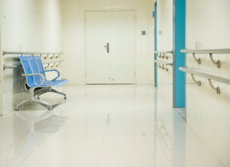 a row of chairs in the hospital hallway.  Stock Photo - 14142326