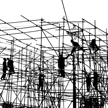 andamio: Trabajadores de la construcción que trabajan en andamios