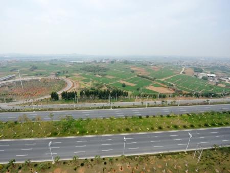 top view of empty asphalt road.  photo