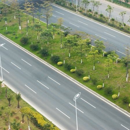 top view of empty asphalt road.  photo