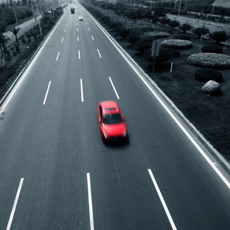 car on road: Highway with cars. motion blur