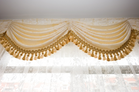 a golden satin decoration background, curtain detail.  Stock Photo - 14079026
