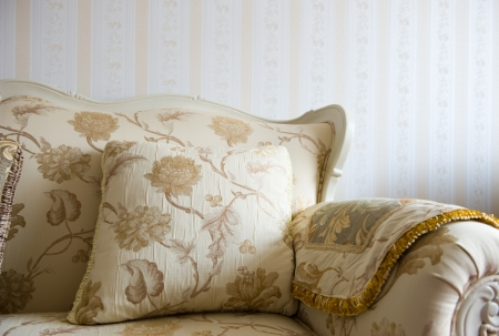 settee: Beautiful sofa on a background of a wall