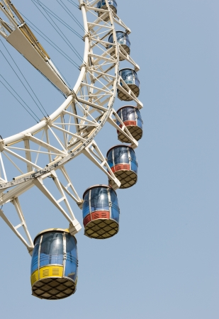 ferris wheel against a blue sky background  photo